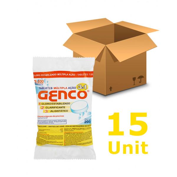 15 unidades Cloro Tablete - Genco - 3 em 1