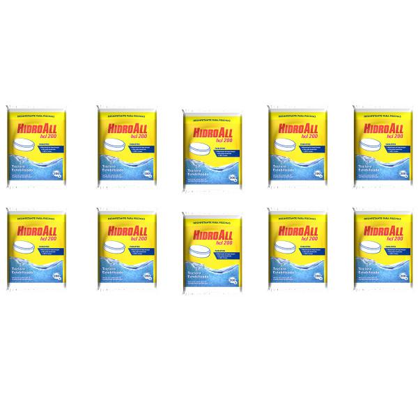 10 unidades Cloro Tablete - Hidroall - 200 gr