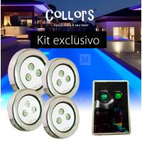 Kit Collors up 4 led colorido + 1 caixa de comando