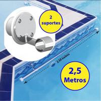 Corrimão Barra para piscinas 2,5 metros + 2 suportes internos fixação - Sodramar