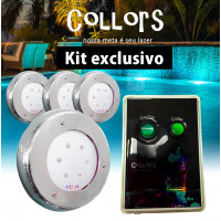Kit Collors Clean 18w  4 led colorido + 1 caixa de comando