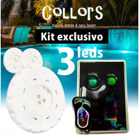 Kit Collors Blue Solução 3 led colorido + 1 caixa de comando