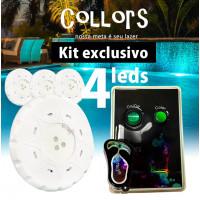 Kit Collors Blue Solução 4 led colorido + 1 caixa de comando