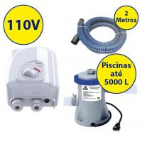kit Aquecedor + bomba/filtro p/ piscinas infláveis de até 5000 Litros - 110V