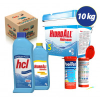 Kit Cloro granulado hidrosan penta 10kg + Clarificante Hidrofloc +Algicida Manutenção + fita teste