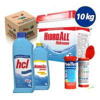 Kit Cloro granulado hidrosan plus10kg + Clarificante Hidrofloc +Algicida Manutenção + fita teste