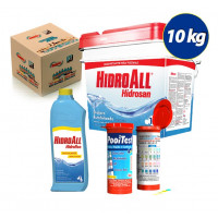 Kit Cloro granulado hidrosan Plus 10kg + Clarificante Hidrofloc + fita teste