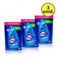 3 unidades Previne água verde - algicida de manutenção refil 900 ml - hth